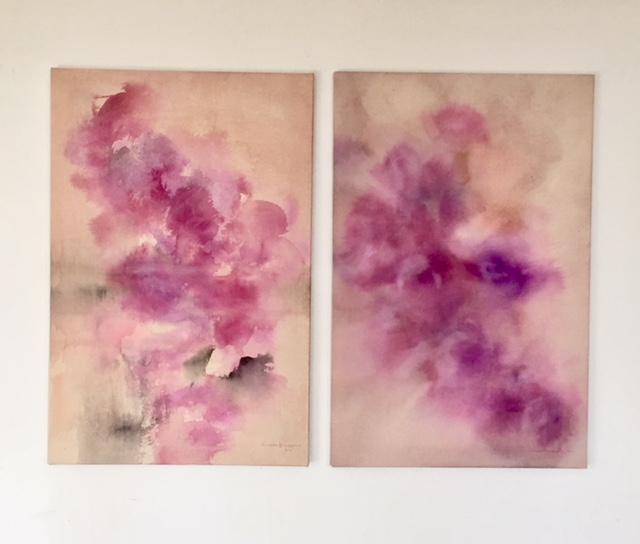 Mistuko Hoshino: tears I, II, Acryl auf Leinwand, 91 x 60 cm, 2011