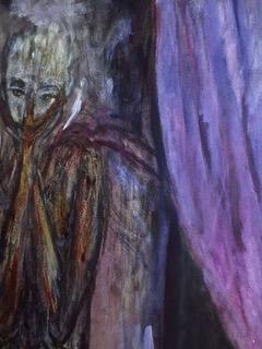 Hubi M: Beichtstuhl I (Detail), Öl auf Leinwand, 2018, 195 x 145 cm